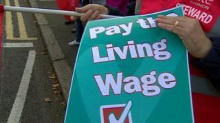 Union strike banner