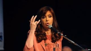 Cristina Fernandez de Kirchner participates in the closing ceremony of the Argentine Metallurgical Industry Association Congress in Buenos Aires on 30 October 2014