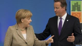 Angela Merkel and David Cameron at a NATO summit in September