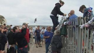 Campaigners climbed over barriers