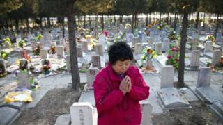This photo taken on April 4, 2011 shows a Chinese woman praying at the grave of a loved one at the Babaoshan cemetery in Beijing