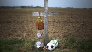 A cross marks where the football truce match took place
