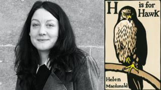 Helen Macdonald and the jacket for her winning book