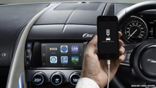 Smartphone and apps in Jaguar car
