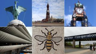 (Clockwise from top left) The Liver Bird, Blackpool Tower, Chester Eastgate, Rochdale, Manchester bee mosaic, Preston bus station