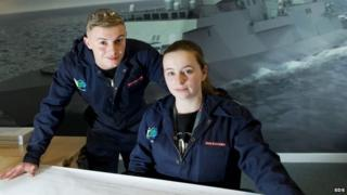 Glasgow-based BAE apprentices Laura Black and Jamie Danks