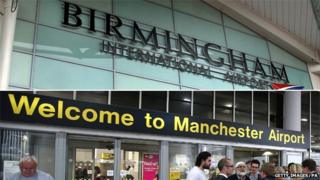 Birmingham and Manchester airport entrance