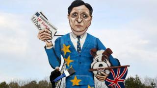 Effigy of outgoing president of the European Commission Jose Manuel Barroso