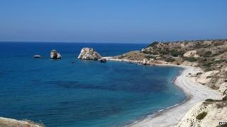"""Aphrodite's Rock"" in the Paphos region of Cyprus"