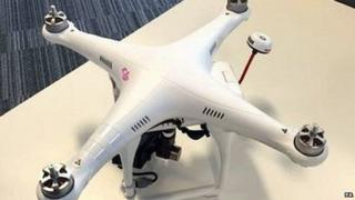 Undated handout photo issued by Greater Manchester Police of a drone, which was flown over a packed football stadium