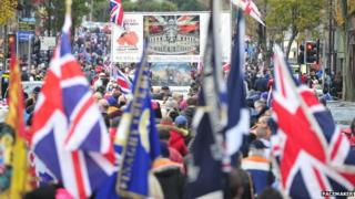 Thousands of people marched through Belfast last November to mark the first anniversary of the flag vote, and a similar event has been organised to mark the second anniversary