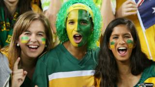 Female fans of Australia's national football team show their support during a friendly against South Africa in Sydney - 26 May 2014