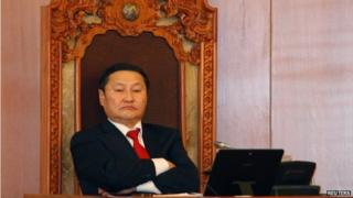 Mongolia's Prime Minister Norov Altankhuyag looks on during a vote at the Mongolian parliament in Ulaan Baatar, 5 November 2014