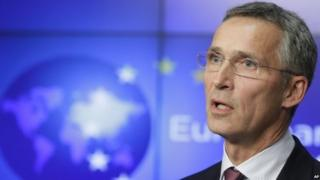 Nato Secretary General Jens Stoltenberg addresses the media after meeting with EU foreign policy
