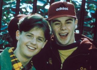 Anthony McPartlin as PJ and Declan Donnelly as Duncan on Byker Grove, 1993