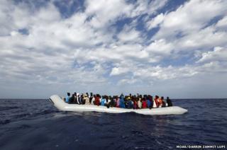 Dinghy at sea