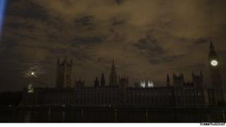 Houses of Parliament during lights out for WW1 commemoration