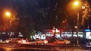 Screen grab from video of the first snow in Tashkent in late October
