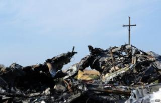 Wreckage from flight MH17 lies undisturbed at the village of Rassipnoe (15 Oct)