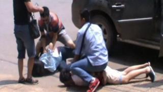 Screengrab of CCTV footage of baby trafficking arrests