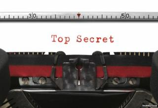 "Typewriter with words ""Top secret"""