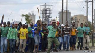 Striking South African miners