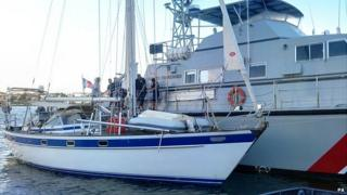 French customs vessels with seized yacht SY Hygeia of Halsa