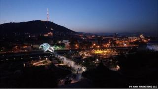 a night view of Tbilisi, Georgia