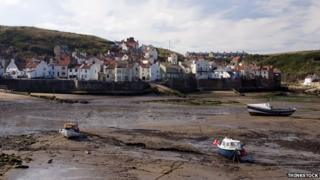Staithes beach and harbour in North Yorkshire