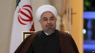 President Hassan Rouhani attends an interview with state-run TV in Tehran, Iran - 13 October 2014