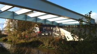 Bridge over the River Tone under construction