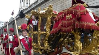 "Alan Yarrow, the new Lord Mayor waves to the crowds during the Lord Mayor""s Show in the City of London."