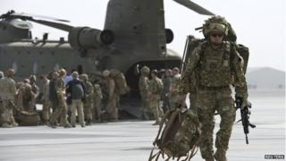 British troops at Kandahar Airfield on October 27, 2014