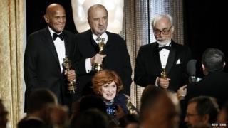 "Harry Belafonte, Jean-Claude Carriere, Maureen O""Hara and Japanese film director and animator Hayao Miyazaki"