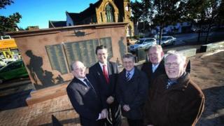 Councillors at war memorial