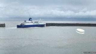 The Dover Seaways hit the harbour wall at about 08:00 GMT