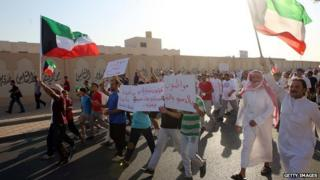 Stateless Arabs, known as Bidun, demand Kuwaiti citizenship and basic rights, in Jahra. 2 October 2013