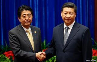 Xi Jinping and Shinzo Abe shaking hands on 10 November 2014 on the sidelines of the Apec summit