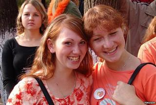 Women at a festival for red-haired people in Udmurtia