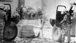 Troops and protestors on Bloody Sunday
