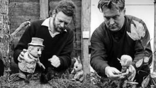 Peter Firmin (left) and Oliver Postgate making Pogles' Wood in 1966