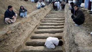 A man prepares graves for the victims of a February 2013 vegetable market bomb attack in the Shia Hazara area of Quetta city (February 2013)