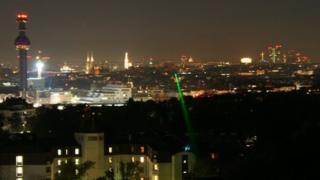 light beam over Vienna