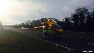 Lincolnshire and Nottinghamshire Air Ambulance on A1