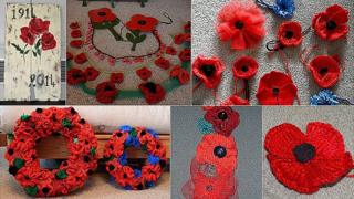 Poppies made as part of the 1,500 Guernsey poppies and painting by Karl De La Mare