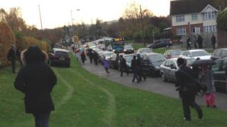 Audi driving on grass verge on Birdsfoot Lane, Luton