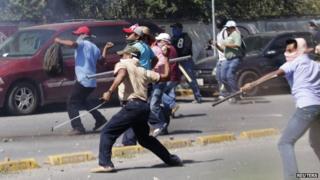 Protestors outside PRI HQ in Chilpancingo 11 Nov 2014