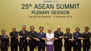 Leaders of Association of Southeast Asian Nations (ASEAN) pose for a group photo during a plenary session of the 25th ASEAN summit at Myanmar International Convention Center in Naypyitaw, Myanmar, Wednesday, 12 Nov 2014
