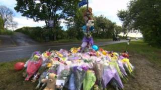 Floral tributes on Normanton Hill