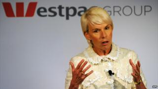 Westpac chief Gail Kelly at a news conference in Sydney - 2 November 2011